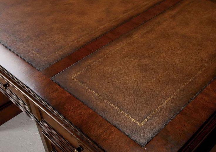 Buckley Leather-Top Pedestal Desk