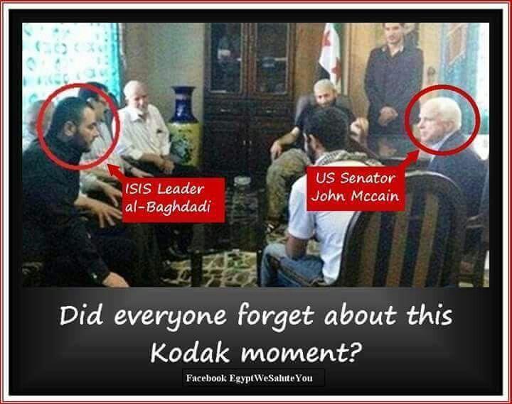 1- EXPOSING ISIS : LOOK AT THIS PIC. ISIS LEADER ALBAGHADI & US SENATOR JOHN MaCAIN . 2- ISIS WAS CREATED IN AMERICA .