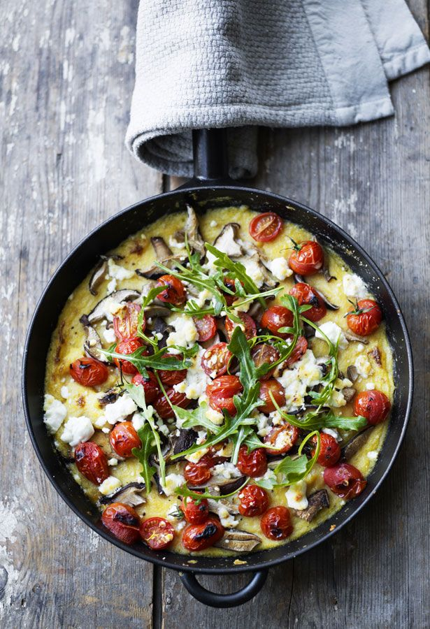 Polenta Bake with Feta, Tomato & Mushrooms. This is NOT vegan..but you can use vegan butter, and I think you could use vegan parm...and sub any vegan cheese for topping...