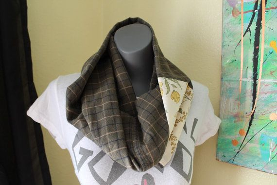 Women's flannel upcycled scarf  green plaid by FoundNMadeBoutique