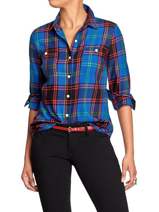Old navy womens plaid flannel shirts bold blue plaid by for Womens navy plaid shirt