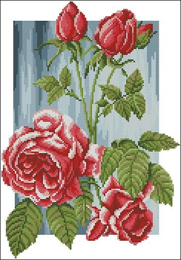 """Floral Cross-stitch pattern """"Queen of flowers"""" 