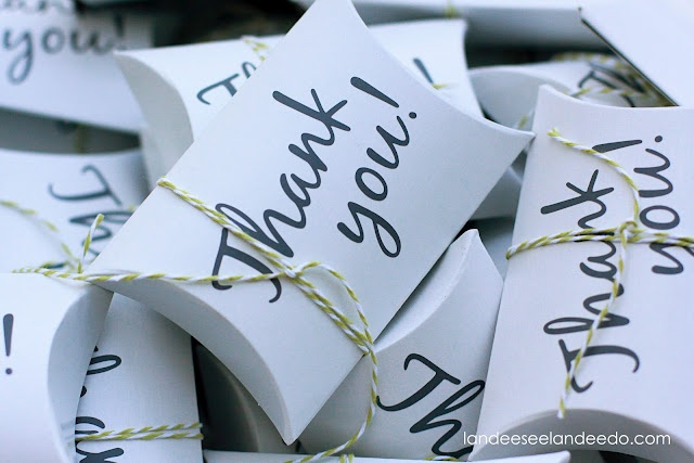 Cute thank you gift idea - pillow boxes filled with chocolate