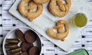 Ruby Black Sesame and Green Tea cookies