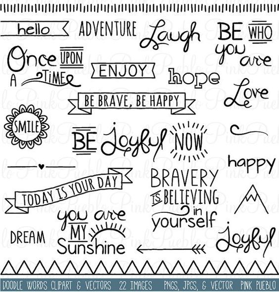 Doodle Words Clipart Clip Art, Typography Word Subway Art Clip Art Clipart Vectors - Commercial and Personal Use