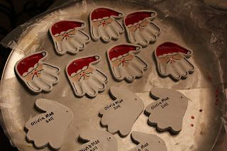 Adventures of a Crafty Mama - Santa hand ornament DIY