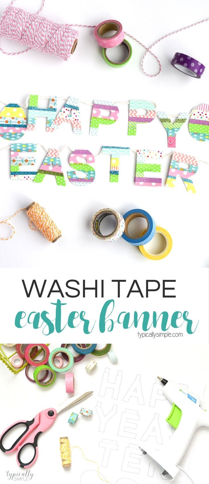 A great way to use up some of that washi tape stash, this Easter banner is a fun addition to your spring decor! Includes a free Silhouette cut file!