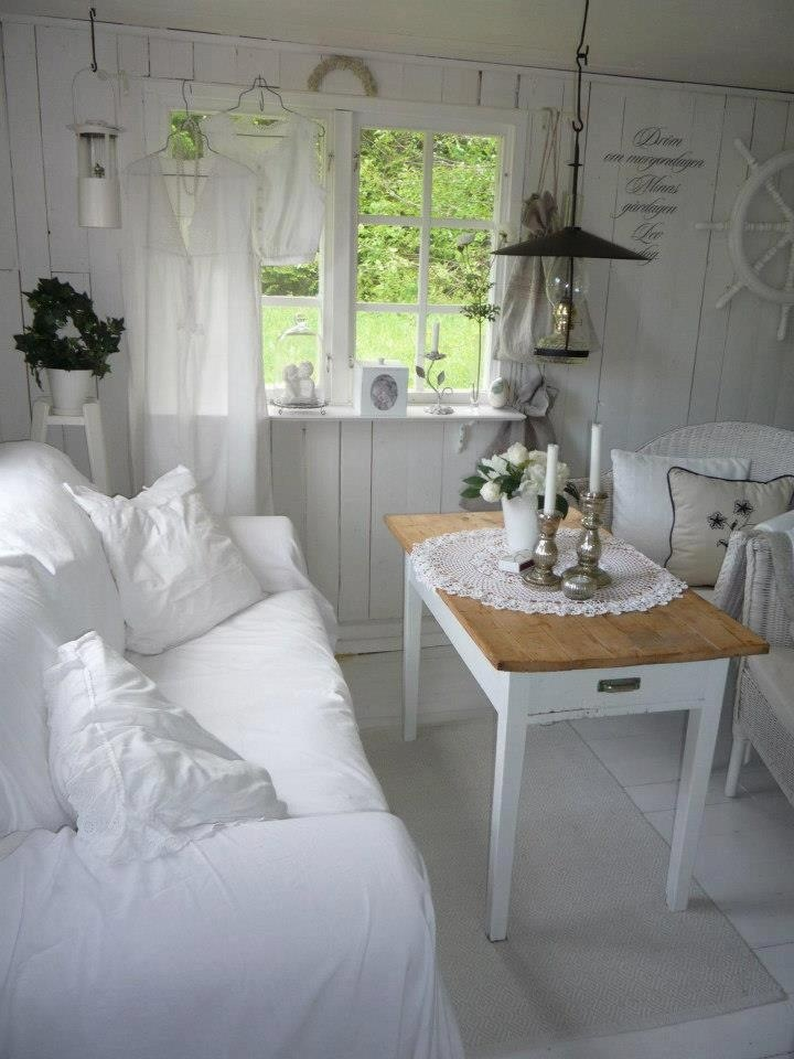 Sofa love seat chair table flower stand lights living room - French shabby chic living room ideas ...