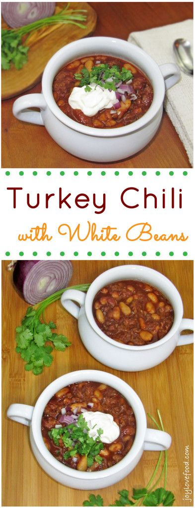Turkey Chili with White Beans- Bold and full of flavor, this delicious chili is sure to warm you up on a cold winter's day.