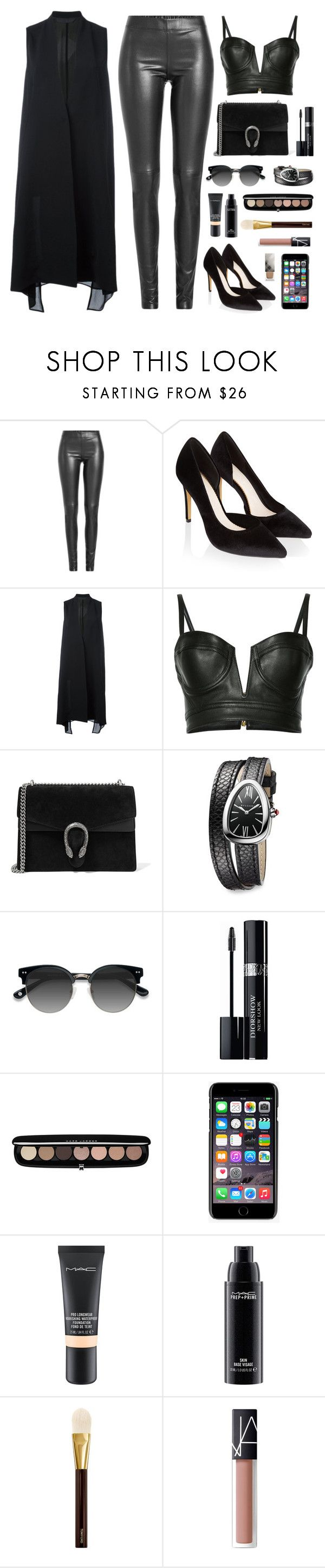 """""""Long vest + leather"""" by jessblock on Polyvore featuring Joseph, Monsoon, demoo parkchoonmoo, Balmain, Gucci, Bulgari, Ace, Christian Dior, Marc Jacobs and Dolce&Gabbana"""