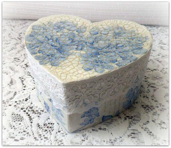 Decoupage heart box , wedding box , jewelry box , vintage style  box , gift box , decoupaged box ,  blue flowers
