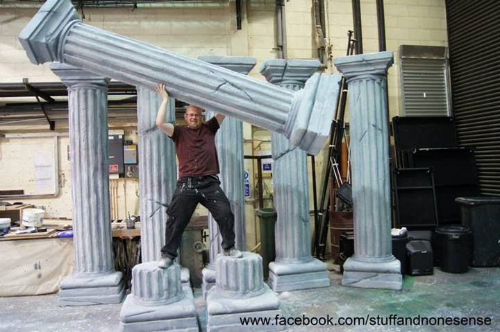 Stage Prop Construction : Polystyrene columns pillars for stage props styrofoam