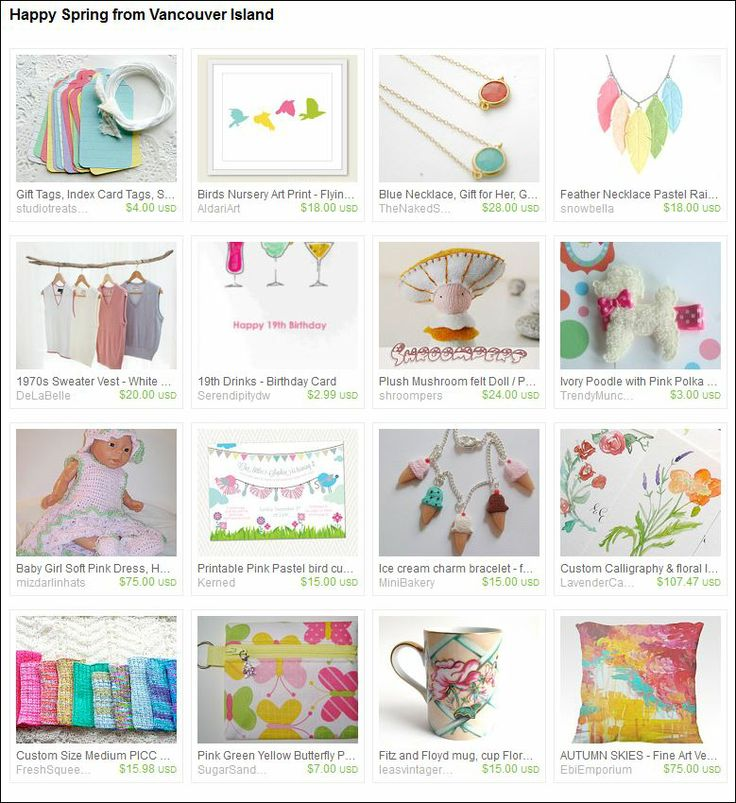 Happy Spring from Vancouver Island!  Etsy Team, Pastels, Easter, Spring collection