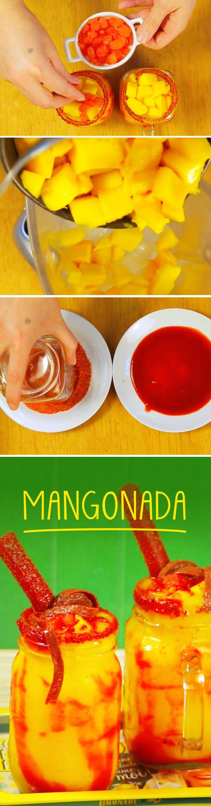 Frappé de mango con chamoy picosito para disfrutar una tarde de verano o en una reunión con tus amigos. Este cocktail sin alcohol es ideal para servir a niños en casa.
