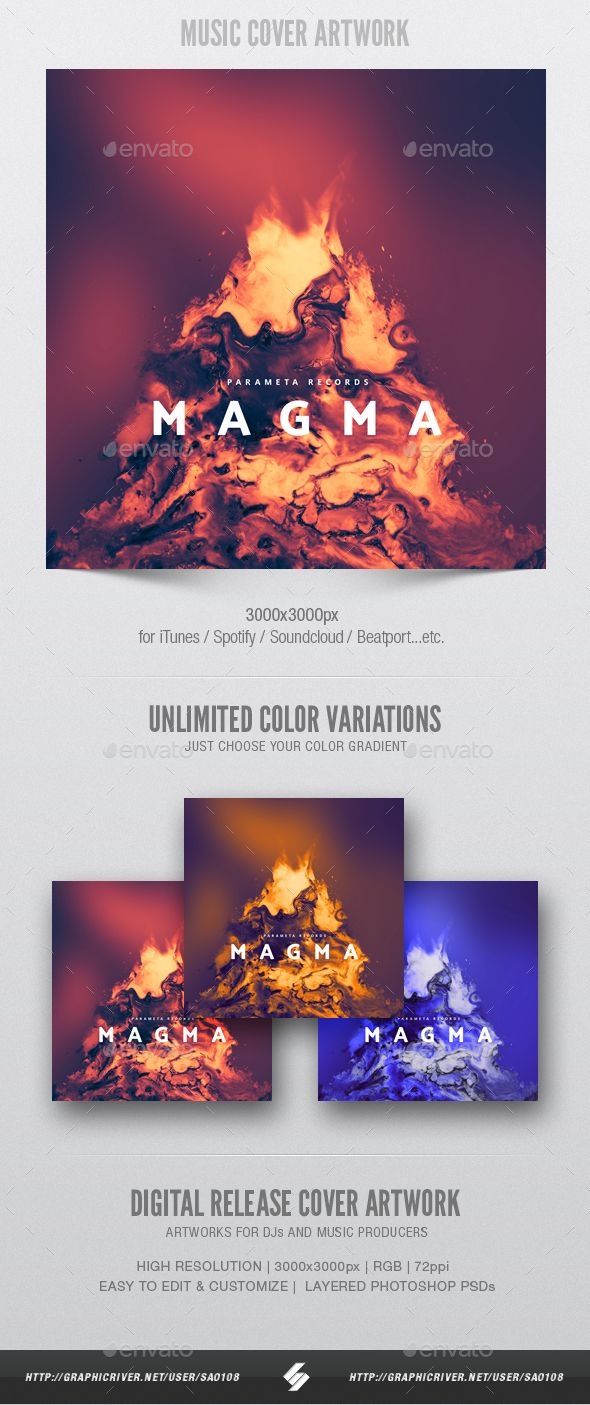 Magma Music Album Cover Artwork Template Fonts Logos Icons