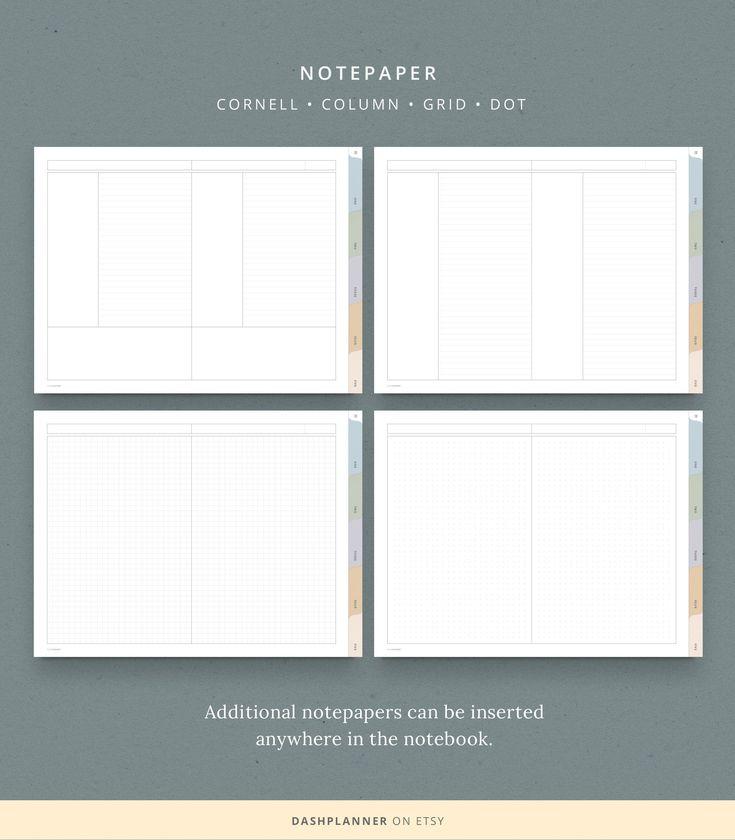 Digital Landscape Notebook 5 Subject Template Pastel Tab Etsy Notebook Organization Digital Notebooks Note Paper