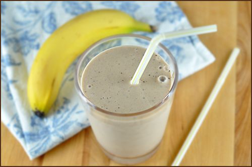 5 minute smoothie with bananas, yogurt, and coffee grounds - great energy boost in the morning.