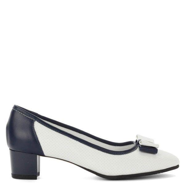 Clarette kék-fehér bőr cipő, elején masni díszítéssel. Vajpuha bőrből készült, a cipő bélése is természetes bőr. Sarka nagyon kényelmes, 4 cm magas.