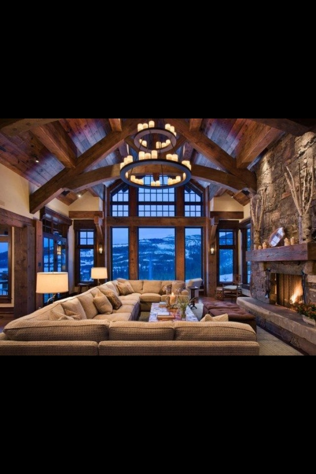 Love this rustic great room!