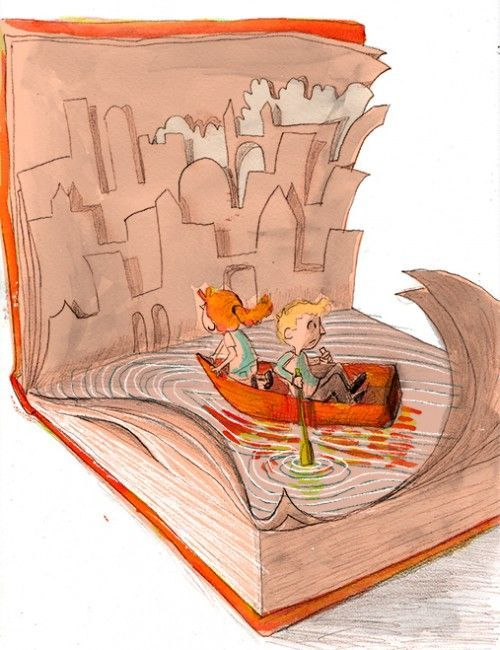 Navegando entre las páginas del libro (ilustración de Corey R. Tabor)