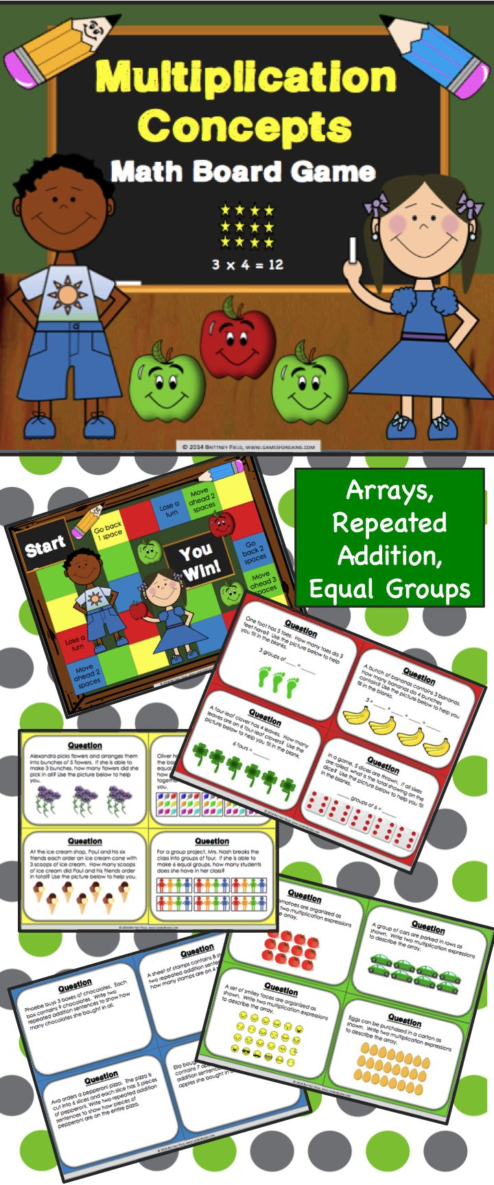 This Multiplication Concepts Board Game contains 32 WORD PROBLEM game cards and a game board to help students practice solving and interpreting multiplication problems using equal groups, repeated addition, and arrays. This game works great as a pair/group activity, or for use in math centers.