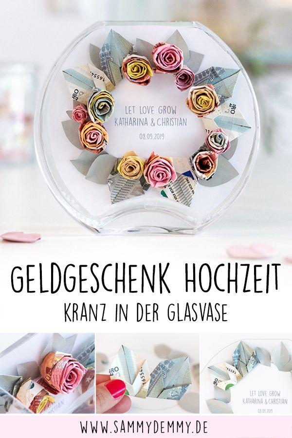 Geldgeschenk zur Hochzeit: Blumenkranz