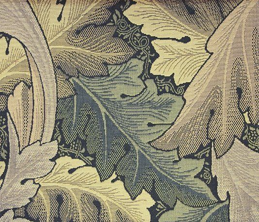 Acanthus Tapestry Upholstery Fabric An iconic William Morris pattern reproduced as a tapestry fabric in taupe and forest.