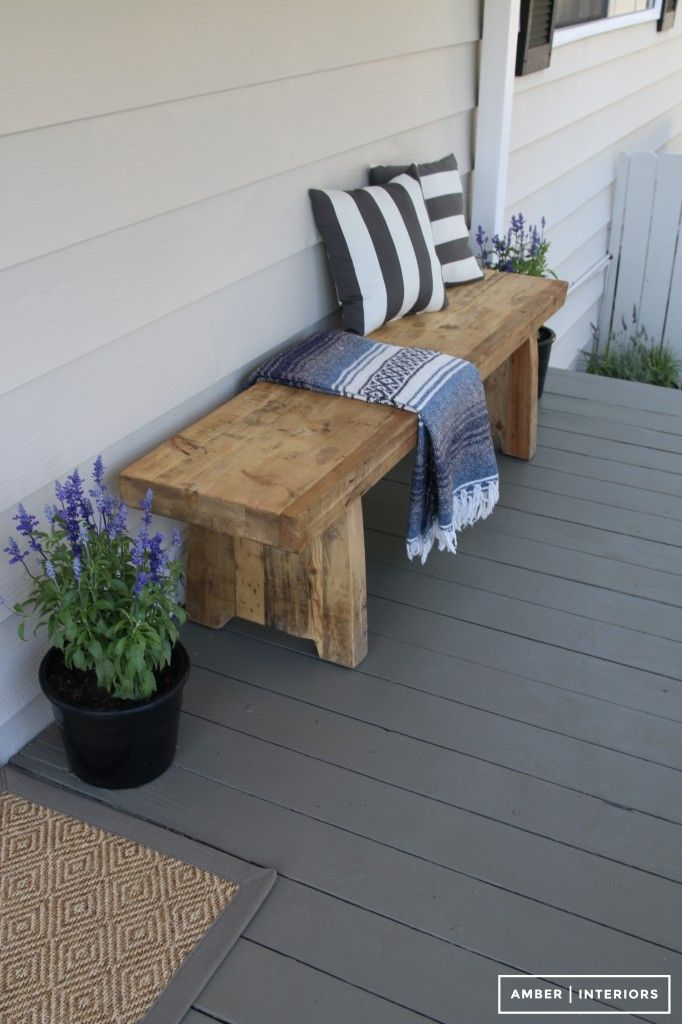 Rustic Bench, Wooden Benches, Entry Bench, Front Porch Bench Ideas, Front  Porch Makeover, Backyard Makeover, Front Porches, Outdoor Furniture, ...