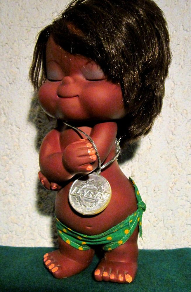 Vintage 70's Greek 23cm African Black Girl Doll Made by Lyra Toy Very Rare!