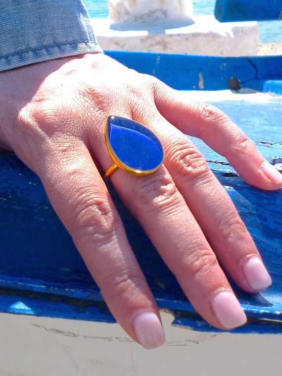 Hey, I found this really awesome Etsy listing at https://www.etsy.com/listing/269338002/royal-blue-ring-big-teardrop-ring-gold