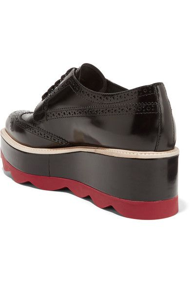 Prada - Leather Platform Brogues - Black - IT37
