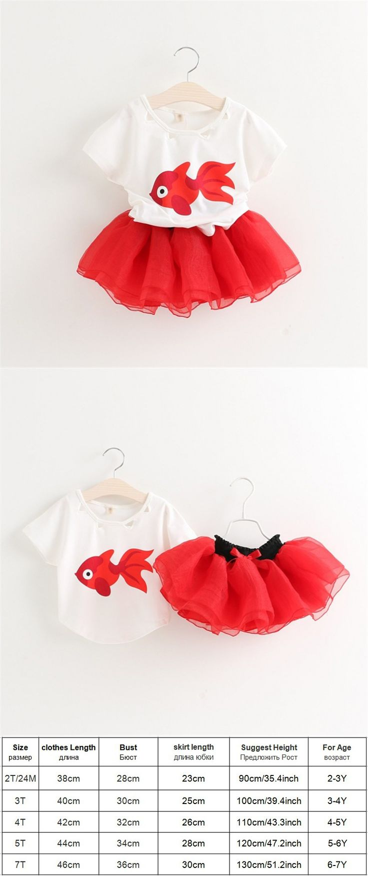 2-7T Fashion Kids clothes girls clothing sets summer style animal fish print t-shirt + red tutu skirt toddler girl clothing
