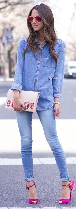 Jeans: Frame Denim / Shirt: Paige Denim (similar) / Shoes: Christian Louboutin / Sunglasses: Ray Ban