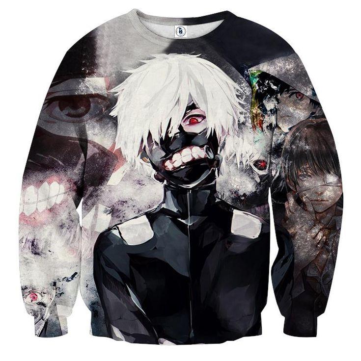 Tokyo Ghoul Ken Kaneki One-Eyed King Vibrant Sweatshirt — Konoha Stuff #tokyoGhoul #KenKaneki #One-Eyed #Sweatshirt #Konoha