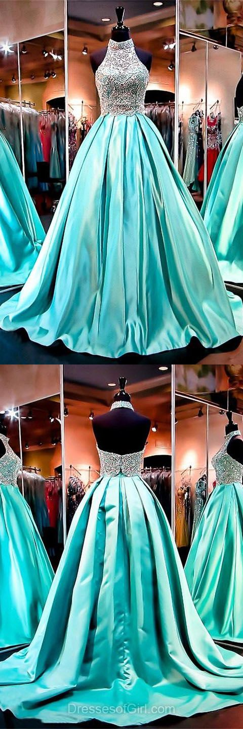 Ball Gown Halter Formal Dresses, Beading Backless Prom Dresses, Light Blue Party Dresses, Modest Evening Gowns