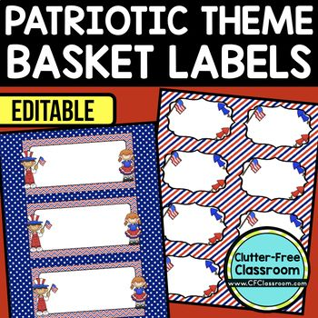 PATRIOTIC THEME Editable Labels by CLUTTER FREE CLASSROOM - These organizational labels have many uses in the classroom or home school. They can be classroom library labels, name tags for cubbies or desks, supply labels, used for organizing centers, and much more. Grab these cute printables today for your preschool, Kindergarten, 1st, 2nd, 3rd, 4th, 5th, or 6th grade classroom or home school. And make sure to check out the links for some FREE downloads to help make your space look great!