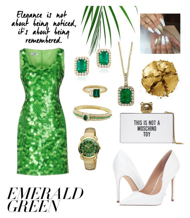 Green Dress by jessann-harrold on Polyvore featuring polyvore fashion style Moschino Cheap & Chic Steve Madden Moschino Effy Jewelry Roberto Cavalli Pat McGrath Van Cleef & Arpels clothing emeraldgreen