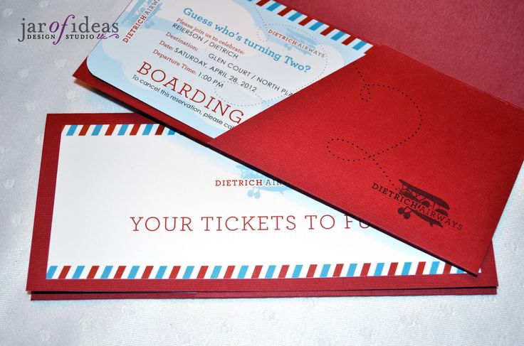 Jar of Ideas: Airplane themed 2nd Birthday Invitation -- Plane ticket / Boarding Pass style. www.jarofideasdesign.com