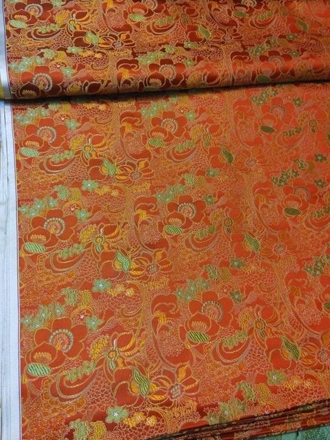 3d001fc68 chinese silk brocade woven damask fabric cheongsam Cushion orange back with  green and yellow Grapes flower