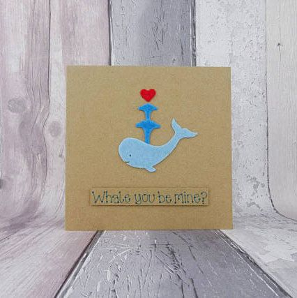 Handmade proposal card Felt whale Valentine's Day card