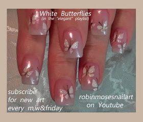 """Nail-art by Robin Moses: """"nail art"""" """"cute butterfly nails"""" """"butterfly nail art"""" """"short nail art"""" """"butterfly nails"""" """"purple butterflies"""" """"rainbow butterfly nails"""" """"easy butterfly nails"""" """"butterfly designs"""" """"butterfly design"""""""