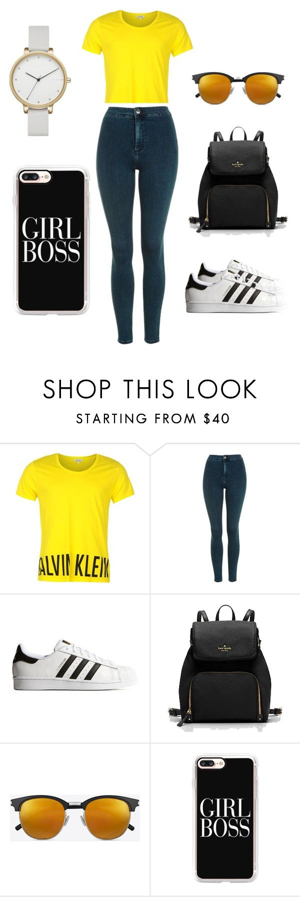 casual by valenalta on Polyvore featuring moda, Calvin Klein, Topshop, adidas Originals, Skagen, Yves Saint Laurent and Casetify