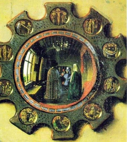 """""""기록으로 남기다""""  얀 반 에이크, <아르놀피니 부부의 초상>    이 그림은 그림 속 사물들이 갖는 다양한 상징적 의미에 대한 깨달음과 함께,그림 속에서 또 그림을 찾아내는 재미를 가져다준다. 그림속 거울에는 아르놀피니 부부 앞에서 벌어지는 장면이 담겨 있다. 거울 속에 비치는 두 부부의 뒷모습 사이로 보이는 파란 옷을 입은 사람이 바로 화가 얀 반 에이크 자신이다. 그는 벽에도 '이곳에 얀 반 에이크가 있었다'는 서명을 숨겨 놓아 그 자신의 존재를 기록한다. 즉, 이 그림은 부부의 결혼을 증명하기 위해서 그린 그림이 된다. 결혼 증명서이지만 사물 하나하나의 디테일까지 세심하게 신경쓴 얀 반 에이크의 정성이 돋보인다. 그가 이 부부와 어떠한 관계인지는 알 수 없지만, 이처럼 잘 그려진 결혼 증명서를 받은 이 부부는 오래오래 행복할 수밖에 없을 것 같다."""
