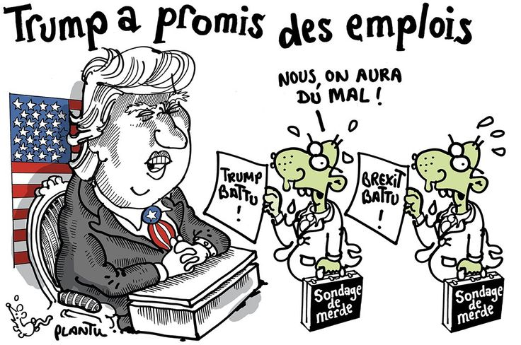 VICTOIRE DE TRUMP, DÉFAITE DES SONDAGES DE MERDE. Le dessin du Monde de ce lundi 9 novembre 2016.