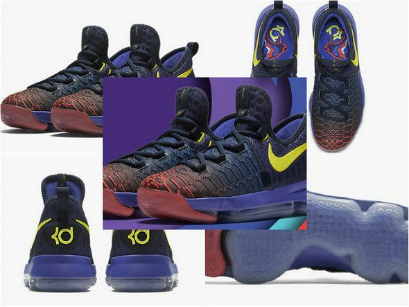 low cost 5f424 7d29d Nike Kevin Durant KD 9 IX Roar From the Floor Obsidian Paramount Blue  Polarized Blue Max Orange 855908-484 Size Euro 41