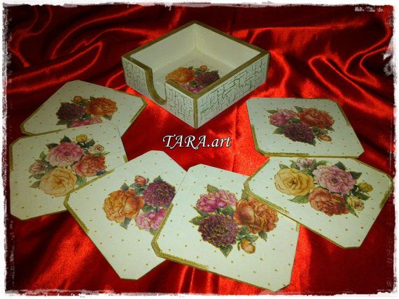 Set of 6 Coastersholder decoupage teacup by LaverdureStudio