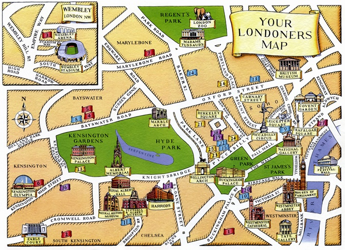 Tourist Attraction Map Of London.100 Visitors Map Of London Yasminroohi