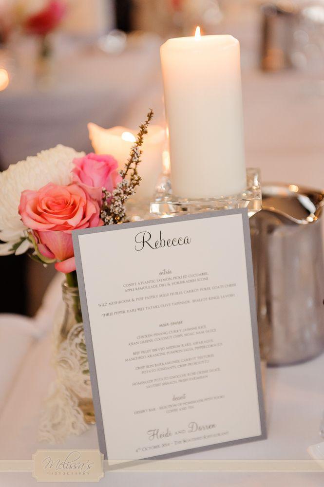 Elegant menus for Heidi & Darren's wedding