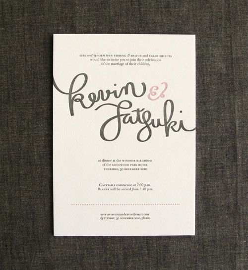 Modern Hand-Lettered Wedding Invitations