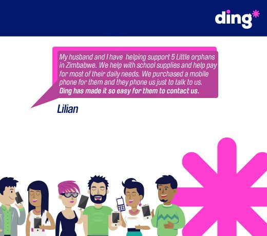Lilian tells us how she keeps in touch with 5 orphans in Zimbabwe using ding*! www.ding.com